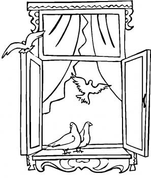 Dessin fenetre oiseaux